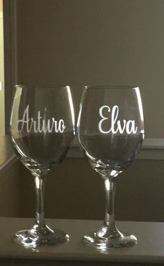Excited to share this item from my shop: Etched Name Wine Glasses-His and Hers Wedding Glasses-Anniversary Gift-Couples Etched Wine Glasses-Wedding Gift-Personalized Stemmed Glasses Monogram Wine Glasses, Etched Wine Glasses, Personalized Wine Glasses, Personalized Wedding Gifts, Fake Glasses, Bridesmaid Wine Glasses, Wedding Wine Glasses, Bride And Groom Glasses, Going Away Gifts