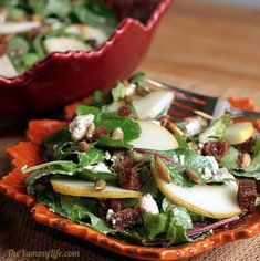 Favorite Fall Recipes:  Harvest Salad with Pears, Dried Figs & Pepitas from The Yummy Life | Featured by Gooseberry Patch