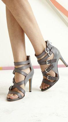 Grey strap heels