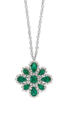 An Important Colombian Emerald and Diamond Brooch-Pendant Necklace