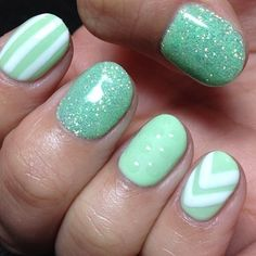 Mint for all nails, then a design on my ring finger!