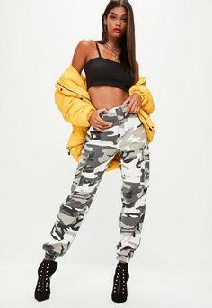 Missguided Premium Gray Camo Printed Cargo Pants