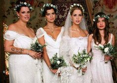 The only time I think Pixie has ever looked particularly beautiful was when she combined capped sleeves with cropped hair. Best bridesmaid attire ever! (second from left)