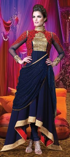 Now you can drape the #SalwarKameez. What??? check this out. #Blue #Bride #IndianWedding #Partywear #Women #fashion #patchwork #onlineshopping #lace #sequin