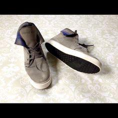 Royal Elastics grey suede sneakers. Royal elastics grey suede sneakers, high top fold down with purple plaid interior. Size 6. Royal Elastics Shoes Sneakers