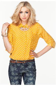 Polka Dot Long Sleeve Button Front Shirt