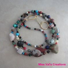 Handcrafted multi gemstone lanyard for your ID badge, keys, transportation pass and more. #lanyard #gemstone