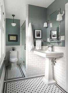 adding dark green bathroom interior tiles to your bathroom 1 Black And White Tiles Bathroom, White Bathroom Decor, Bathroom Design Small, Bathroom Interior Design, Small Bathroom Paint, Bathroom Paint Colors, Interior Livingroom, Victorian Bathroom, Vintage Bathrooms