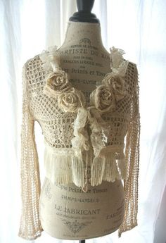 Crocheted sweater with roses  Lady-Gray-Dreams