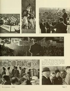 """The Ohio Alumnus, November 1964. """"1964 Homecoming."""" """"Enthusiasm reigned supreme at the Friday night Pep Rally held on the west portico of Memorial Auditorium."""" Ohio University Students celebrate Homecoming 1964. :: Ohio University Archives"""
