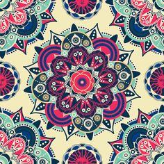 Bright Indian Seamless Pattern by Tatyana Anisimova Seamless Repeat Vector Royalty-Free Stock Pattern Mandala Wallpaper, Cute Wallpaper Backgrounds, Mandala Drawing, Mandala Art, Fabric Painting, Diy Painting, Islamic Tiles, Ancient Egyptian Art, Stencil Art