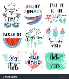 Summer lettering Scandinavian set with holiday Summer Elements. Watermelon, ice cream, palm, tropic, sun. Summer Typographic. Vector illustration.