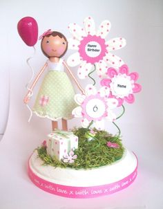 Custom Birthday Blossoms cake topper by tinyblossoms on Etsy, $40.00  Could the girls make something similar for their dollhouse?