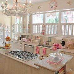 beige/pink/teal kitchen, would like but I doubt the hubs will go for it