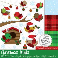 Christmas Birds  Set de Clip Art y Papeles por pixelpaperprints
