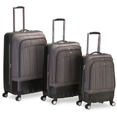Rockland Brown 3 Piece Milan Hybrid Spinner Luggage Set ($288) ❤ liked on Polyvore featuring bags, luggage and brown