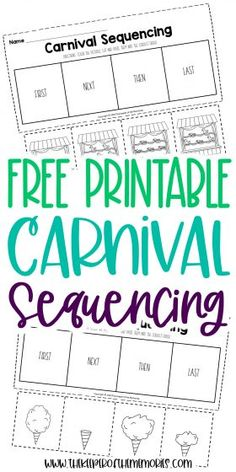 Grab your cotton candy and get ready for some carnival fun! These Carnival Sequencing Events Worksheets are a great way to teach little kids tons of important math and literacy skills. Download yours today! #carnival #sequencing #preschool #kindergarten #sequencingworksheets #preschoolworksheets #kindergartenworksheets Sequencing Worksheets, Story Sequencing, Printable Preschool Worksheets, Sequencing Events, Kindergarten Worksheets, Free Printables, Preschool Kindergarten, Sensory Activities Toddlers, Kids Learning Activities