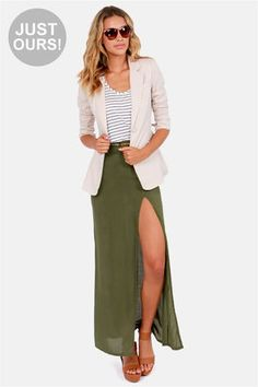 Pair up your favorite Lulus top with the Take It To The Max Olive Green Maxi Skirt! This woven lightweight skirt with a thigh-high slit and banded waistline has an invisible side zipper. Maxi Skirt Outfits, Dress Skirt, Maxi Skirts, Green Maxi, Casual Skirts, Casual Clothes, Fashion Outfits, Fashion Trends, Fashion Inspiration