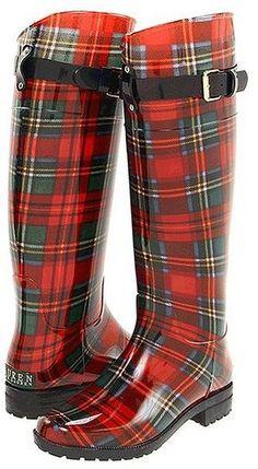 Ralph Lauren McLeod Tartan Wellies Rain Boots LOVE these! Given theyre McLeod tartan. Mode Tartan, Tartan Plaid, Black Plaid, Stylish Rain Boots, Cool Boots, Warm Boots, Wellies Rain Boots, Ugg Boots, Boot Over The Knee
