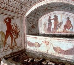 Decorative artwork in the Catacombs of Rome
