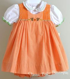 Petit Ami Girls Fall Orange Pumpkin and Squirrel Smocked 3 piece Dress & Classic Baby Boutique Girls Smocked Dresses, Little Dresses, Little Girl Dresses, Baby Dresses, Smocking Baby, Frocks For Girls, Cute Outfits For Kids, Toddler Dress, Kind Mode