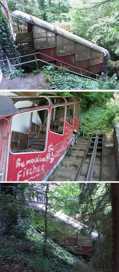 Hidden in the forest near Bad Ems, Germany, this abandoned funicular railway is known as the Malburgbahn.