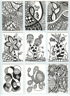 Zentangle ATCs    Nine of eighteen Zentangle ATCs ready to be sent out for a mid-November ATC swap