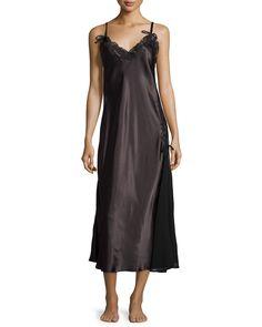 Tying The Knot Satin Nightgown, Black, Size: LARGE - Oscar de la Renta Pink Label