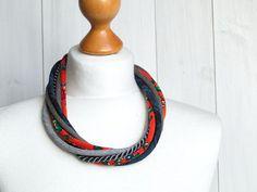 FIBER necklace statement short necklace braided by Zojanka on Etsy