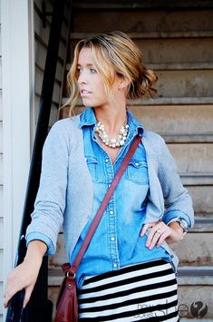 LOVE the stripe and denim combination...especially the touch of pearls! #fashion @How Does She @Sydney Poulton