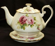 Royal Albert England American Beauty Roses 4CUP TEA POT Teapot Trivet Stand