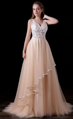 A Line V Neck Prom Dress Sweep Train Tulle Dresses With LaceProm From BeautyPromDress