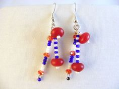 Be Patriotic All the Time! Earrings Hook Dangle Red White Blue Glass Beads Artisan Handmade Gift Free Shipping