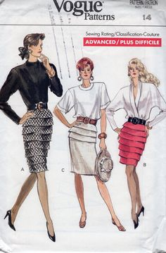 Vogue 7283 Vintage Retro 1980's 80's Tapered Skirt Ruffle Variations Sewing Pattern Free Us Ship Uncut ff Size 14 Waist 28 by LanetzLiving on Etsy