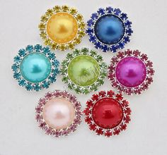 10 pcs Alloy Rhinestone Pearl Button Hair Bow by aiweilibo on Etsy, $4.90
