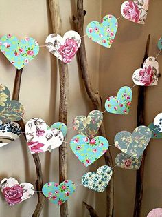 Paper heart garland from 10 Paper Lane, eBay