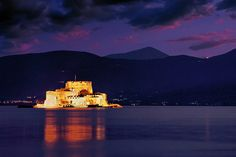 Bourtzi, a castle located on an island in the middle of the harbour of Nafplio, Greece