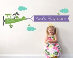 Airplane Name Wall Decal Boy Skywriter Travel by graphicspaces