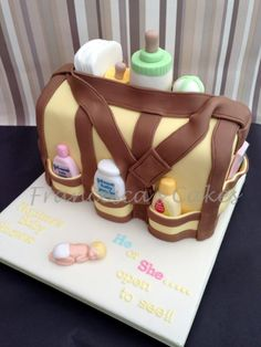 Baby Shower Items, Baby Shower Cakes, Gorgeous Cakes, Amazing Cakes, Wedding Cakes With Cupcakes, Cupcake Cakes, Diaper Bag Cake, Ice Cake, Fashion Cakes