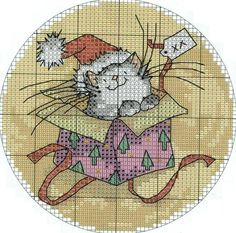 no color chart available, just use the pattern chart as your color guideCross-stitch Christmas Cat. no color chart available, just use the pattern chart as your color guide Cross Stitch Christmas Ornaments, Xmas Cross Stitch, Christmas Embroidery, Cross Stitch Charts, Cross Stitch Patterns, Loom Patterns, Cat Cross Stitches, Cross Stitching, Cross Stitch Embroidery