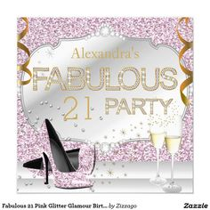 Fabulous 21 Pink Glitter Glamour Birthday Party 5.25x5.25 Square Paper Invitation Card