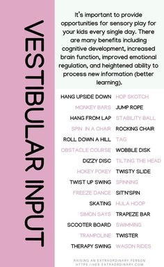 Vestibular Input Activities - and - 30 play ideas for kids that encourage cognitive development, emotional regulation, and better learning. Vestibular Activities, Vestibular System, Occupational Therapy Activities, Sensory Therapy, Sensory Activities For Autism, Sensory Rooms, Sensory Integration Therapy, Proprioceptive Input, Oral Motor Activities