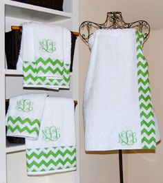 Monogrammed Chevron Bath Wrap and Towel Set by smberrier on Etsy