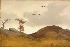 Karl Friedrich Lessing - Landscape with Crows, circa 1830 Painting, Oil on canvas, framed: 16 x 21 x 2 in. sight: 9 x 14 in. x cm) Gift of Mr. Carl Friedrich, Caspar David Friedrich, Web Gallery, Virtual Museum, Art Themes, Romanticism, Landscape Art, Art Museum, Oil On Canvas