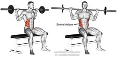 Seated barbell twist. An isolation pull exercise. Muscles worked: Internal and External Obliques, Psoas Major, Iliocastalis Thoracis, Iliocastalis Lumborum, and Quadratus Lumborum. Also called the seated barbell oblique twist.