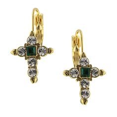 Gold-Tone Crystal and Green Cross Leverback EarringsGold-toned crosses are accented with clear crystals and a square-cut emerald-colored crystal center stone.  #vintagejewelry #fashionjewelry #costumejewelry #bridaljewelry #antiquejewelry