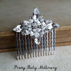 Your place to buy and sell all things handmade Art Deco Hair, Short Wedding Hair, Old Hollywood Glamour, Bridal Hair, Wedding Hairstyles, Short Hair Styles, Dream Wedding, Hair Accessories, Crystals
