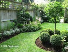 Landscaped Backyard - manicured shrubs and mulched beds framed by a tall privacy fence - Landscaping Style, via Puddy's House #landscapingbackyard