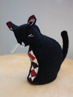 felted wool black cat