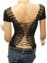 Patty Women Unique Corset Embroidered Back Cap Sleeve Boho Clubwear Blouse Top